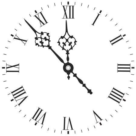 Elegant clock face with roman numerals isolated on white