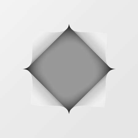 A square hole cut into a white piece of paper. Dark gray background under it. Vector illustration.
