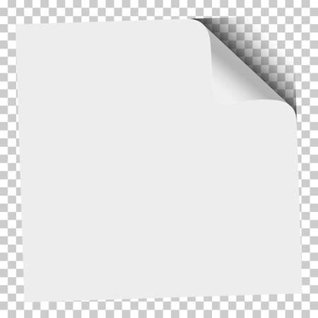 White sheet of paper with curled lower left corner and transparent background under it. Vector illustration.