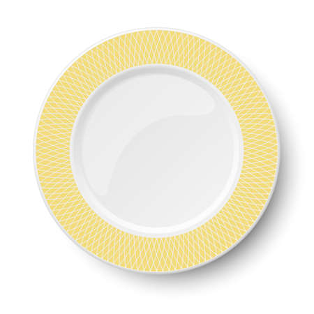 Empty classic white vector plate with yellow pattern isolated on white background. View from above. Illustration