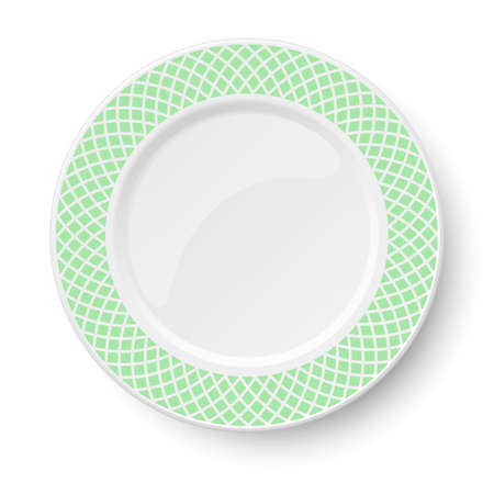 Empty classic white vector plate with green pattern isolated on white background. View from above. Illustration