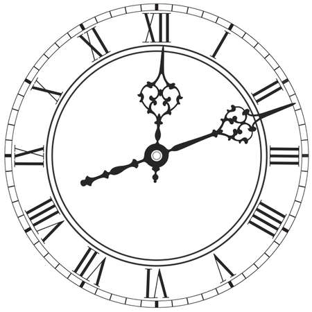Elegant clock face with roman numerals placed on white background Illustration