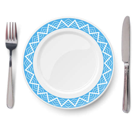 Empty vector blue plate with white geometric line pattern and knife and fork isolated on white background. View from above.