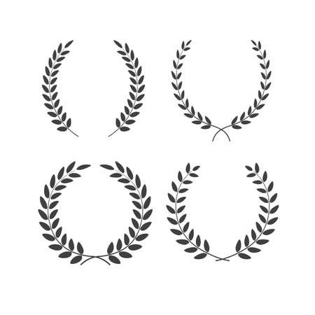 Set of laurel wreaths vectors of different shapes isolated on white background Illustration