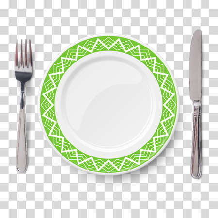 Empty vector green plate with white geometric line pattern and knife and fork isolated on transparent background. View from above. Illustration