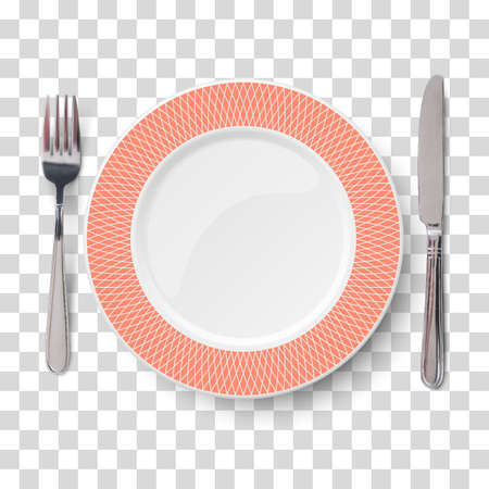 Empty vector blue orange with geometric white pattern and knife and fork isolated on transparent background. View from above. Illustration