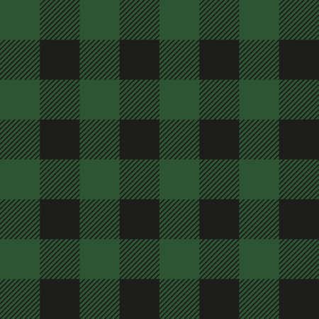 Lumberjack plaid seamless pattern. Vector textile template illustration. Dark green color.