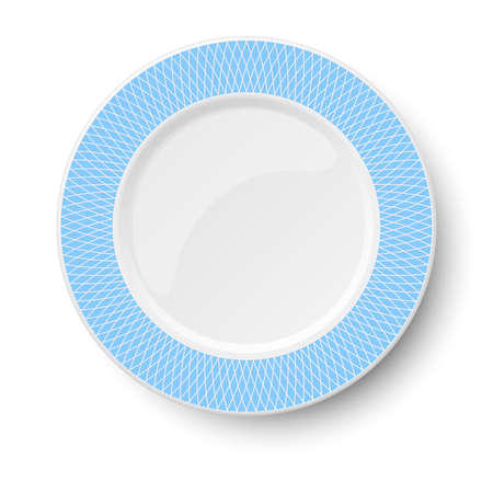 Empty classic white vector plate with light blue pattern isolated on white background. View from above. Illustration