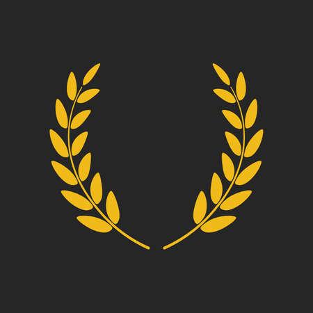 Golden laurel wreath icon vector isolated on black Illustration