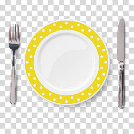 Empty vector yellow with polka dot color pattern and knife and fork isolated on transparent background. View from above.