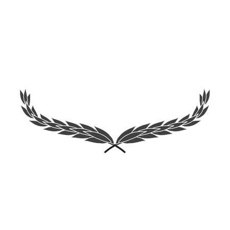 Wide laurel wreath vector icon isolated on white background