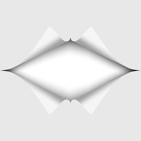 A elongated hole cut into a white piece of paper. White background under it. Vector illustration.