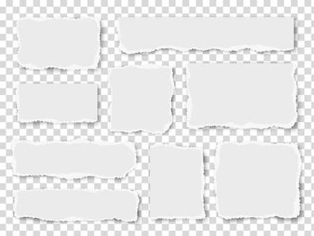 Set of paper different shapes scraps isolated on transparent background