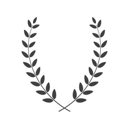Laurel wreath vertical placed on white background. Vector illustration.