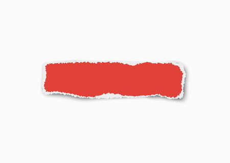 Red vector elongate paper tear wisp with soft shadow isolated on white