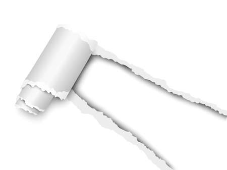 Torn, snatched window placed diagonally from lower right corner in white paper with paper curl. White background of the resulting hole. Vector template paper design.