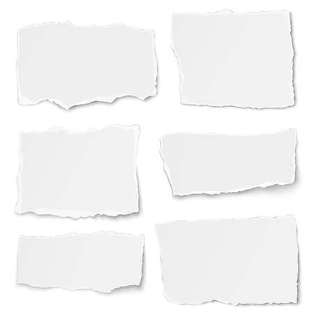 Set of paper different shapes tears placed on white background Illustration