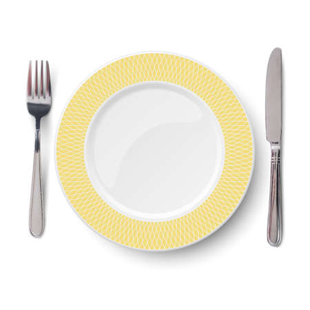 Empty vector yellow plate with geometric white pattern and knife and fork isolated on white background. View from above.