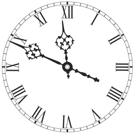 Elegant clock face with roman numerals on white background Illustration
