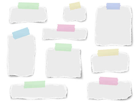 Set of paper different fragments scraps on color sticky adhesive tape isolated on white background. Vector illustration.