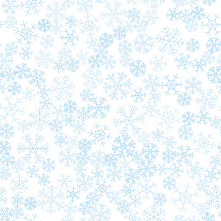 Seamless winter background consisting of snowflakes of different shapes. Blue snowflakes and white background. Christmas and new year symbol and mood.