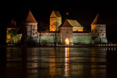 impregnable: Trakai castle (Traku pilis) in Lithuania near Vilnius at night Editorial