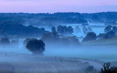 Evening fog over the fields. Agricultural landscape in eastern Lithuania.