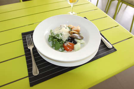 second breakfast: Restaurant menu. Dishes which give at restaurants. Salads, second courses, pizza and other. Stock Photo