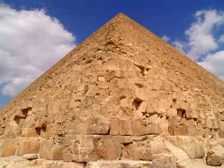 grandiose: Egyptian pyramid. A look from below up on a pyramid. Stock Photo