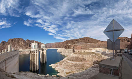 hoover dam: Nevada, USA - June 18, 2015: View of the Hoover Dam in Nevada, USA
