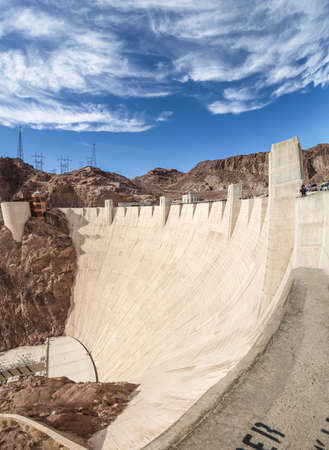 hoover dam: View of the Hoover Dam in Nevada, USA Stock Photo