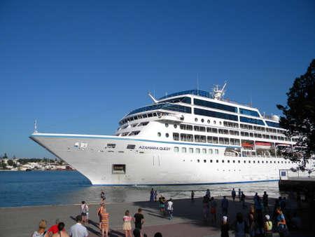 navy pier: New Orleans, USA - June 23, 2011: Azamara Quest, tourist liner in the port. Big tourist ship