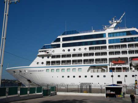 cruising: New Orleans, USA - June 23, 2011: Azamara Quest, tourist liner in the port. Big tourist ship