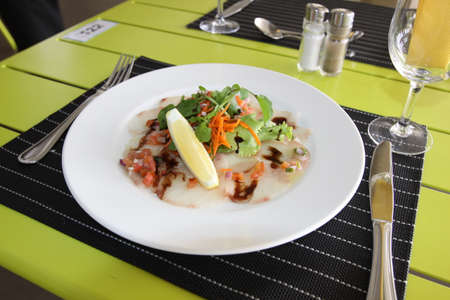 Restaurant menu. Dishes which give at restaurants. Salads, second courses, pizza and other. Stock Photo
