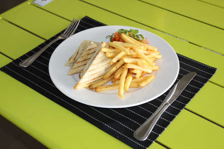 Restaurant menu. Dishes which give at restaurants. French fries