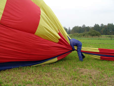 Travel by a balloon. The movement on hot air.