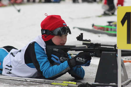 attentiveness: Russia, Volgodonsk - dec 30, 2015: Biathlon competitions.