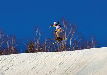 Skiing. Training ride on skis. Winter sport. Фото со стока