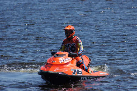 Russia, Volgodonsk - June 10, 2015: Racing on water scooters. Sports on the water.