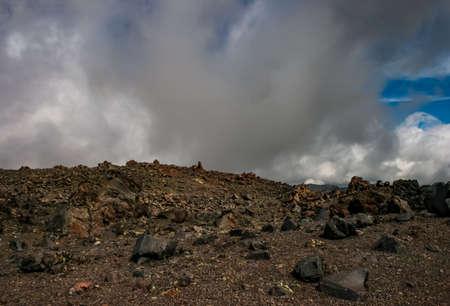 Mountain landscape with a stony scattering. Mountain landscape. Rocks without vegetation.