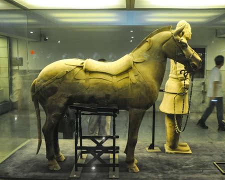 XIAN, CHINA - October 29, 2017: Horseman of a terracotta army Terracotta Army