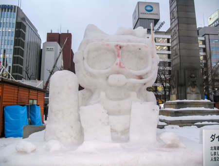 Sapporo, Japan - January 10, 2017: Snow sculptures in winter. Creative from ice and snow. Festival of snow sculptures on the streets of Sapporo
