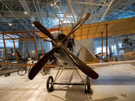 Berlin, Germany - June 19, 2018: Museum of aviation. Exhibition of aircraft exhibits in the museum.