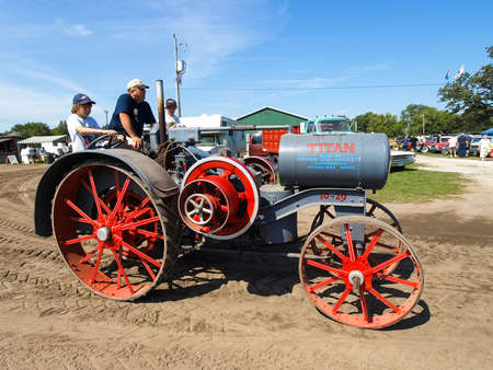 Hamburg, Germany - July 23, 2012: Antique Tractor Show exhibition. Vintage models of tractors. Exhibition of antique tractors. Tractor show, Agreecultural machines, Agreecultural equipment