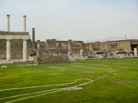 The ancient city of Pompeii in Italy, the archaeological excavations of Pompeii.