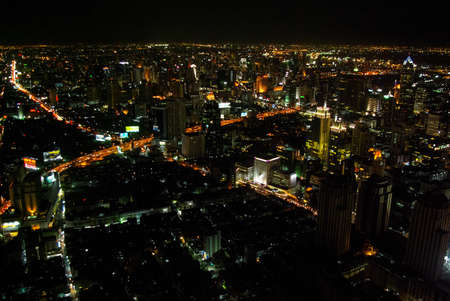 Night Bangkok, cityscape of the eastern city, night in the city view from above.