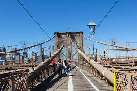 New York, USA - 12 août 2016 : Pont de Brooklyn à New York. Sites, bâtiments et rues de New York. Éditoriale