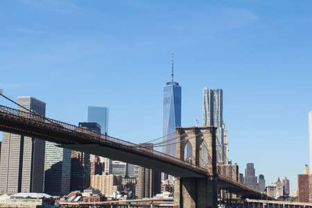 New York, USA - August 12, 2016: Brooklyn Bridge in New York. Sights, buildings and streets of New York. Editorial