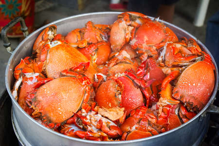 boiled sea crab. Red from cooking crab - a dish of Thailand cuisine.