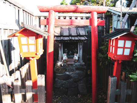 NOBORIBETSU, JAPAN - JUNE 23, 2015: Samurai village in Japan, Museum ethnic village in the style of ancient Japan, ancient buildings and objects of Japanese culture.